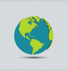 3d earth map with shadow on transparent background vector image
