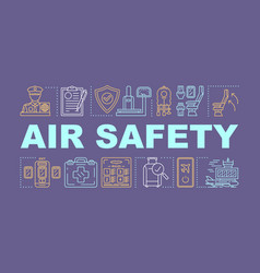 Air safety word concepts banner flight equipment vector