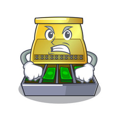 Angry cash register with lcd display cartoon vector