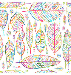 art feathers collection seamless pattern for your vector image