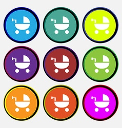 Baby Stroller icon sign Nine multi colored round vector
