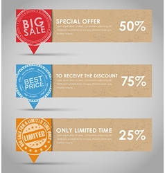 Banners with bubble for sale in retro style vector image vector image