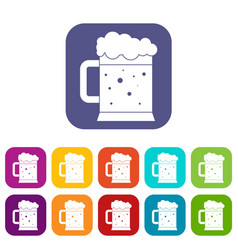 Beer mug icons set flat vector