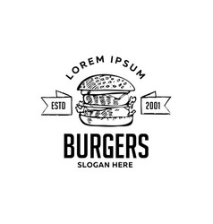 burger flat icon with text sign vector image
