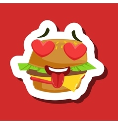 Burger Sandwich In Love With Hearts In Eyes Cute vector image