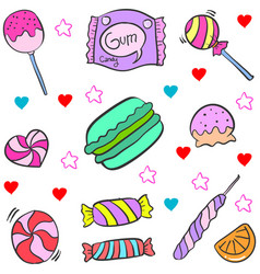 Candy various doodles vector
