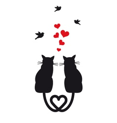 Cats in love with hearts and birds vector