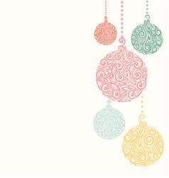 christmas background with christmas balls hanging vector image
