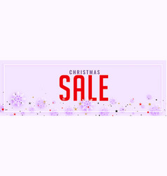 Clean christmas sale banner with snowflakes vector