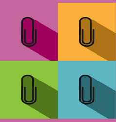 Clip icon with shade on colored backgrounds vector