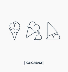 collection of outline ice cream icons vector image