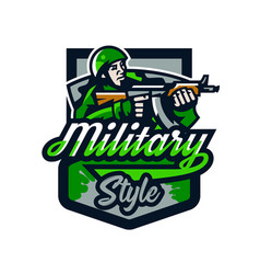 Colorful logo badge emblem a soldier shooting vector