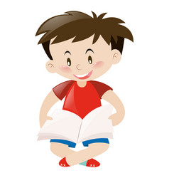Cute boy in red shirt reading book vector