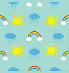 cute cartoon sun cloud with rain rainbow set baby vector image