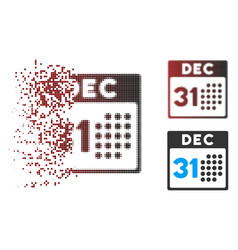 Disappearing pixel halftone last year day icon vector