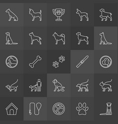 dog line icons collection vector image