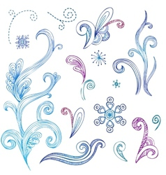Doodle winter design elements vector image