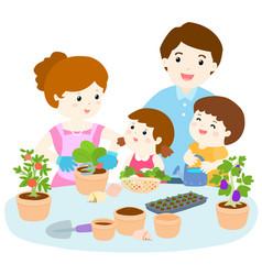 family planting healthy organic vegetable cartoon vector image