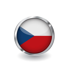 flag of czech republic button with metal frame vector image
