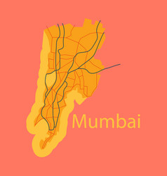 flat icon map of mumbai vector image