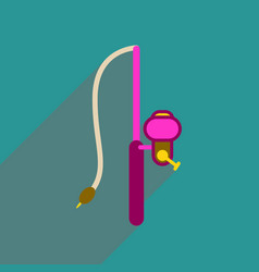 Flat web icon with long shadow fishing rod vector