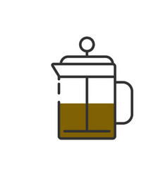 french press pot morning coffee vector image