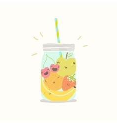 Fruits in smoothie jar vector image