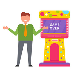 game over retro arcade game machine image vector image