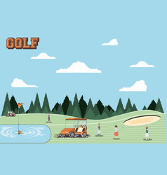 Golf players people in the course vector