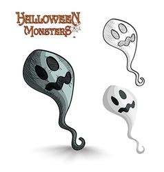 Halloween monsters scary cartoon ghost EPS10 file vector image