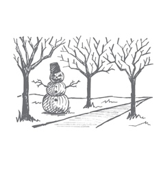 Hand drawn Halloween snowman made of pumpkins vector image