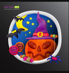 handmade plasticine round greeting card vector image