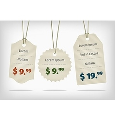 Hanging cardboard pricing tags with colorful vector image