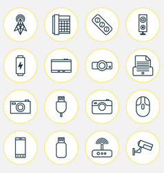 Hardware icons set collection of usb universal vector
