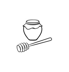 honey in a jar and spoon hand drawn sketch icon vector image
