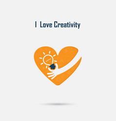 Human handlight bulb and heart logo design with vector