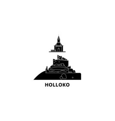 Hungary holloko old village flat travel skyline vector