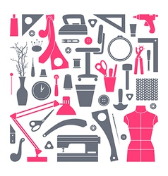 Icons set sewing and hobby tools vector