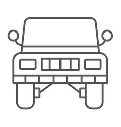 jeep thin line icon transportation and auto suv vector image