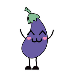 Kawaii cute happy eggplant vegetable vector