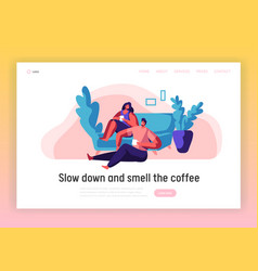 lovers couple relax landing page man and woman vector image