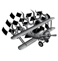 monochromatic cartoon fighter plane twin vector image