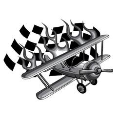 monochromatic cartoon fighter plane twin vector image