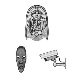 Museum and gallery monochrome icons in set vector