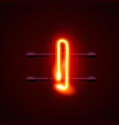 Neon font letter i art design singboard vector