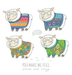 new year card with cute sheep in knitted vector image