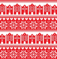 Nordic winter seamless red pattern with houses vector image