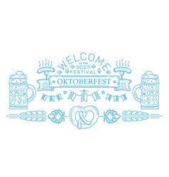 Oktoberfest line logo design vector