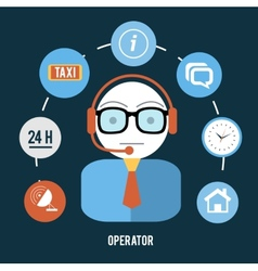 Operator with different item icons vector image