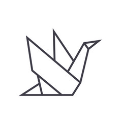 origami line icon sign on vector image